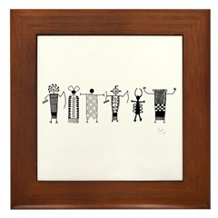 Group of Petroglyph Peoples Framed Tile