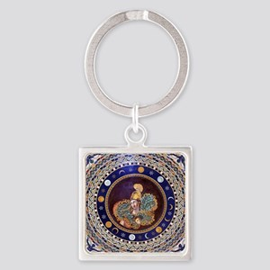 Athena mosaic in the Sala a croce  Square Keychain