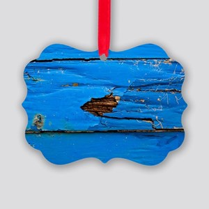 Blue Imperfect wood plank Picture Ornament