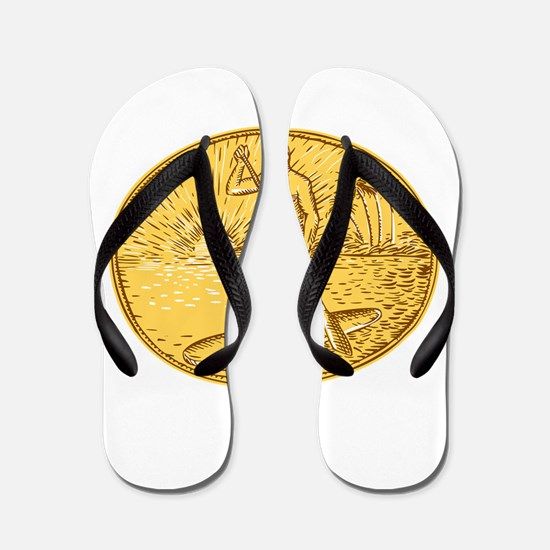Stand Up Paddle Boarding Surfing Etching Flip Flop