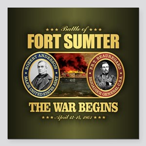 "Fort Sumter Square Car Magnet 3"" x 3"""