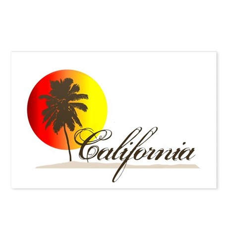 California Beaches Sunset Logo Postcards (Package