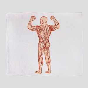 Human Muscular System Anatomy Etching Throw Blanke