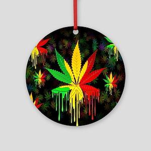 Marijuana Leaf Rasta Colors Dripping Paint Ornamen