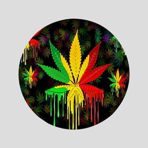 Marijuana Leaf Rasta Colors Dripping Paint Button