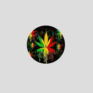 Marijuana Leaf Rasta Colors Dripping Paint Mini Bu