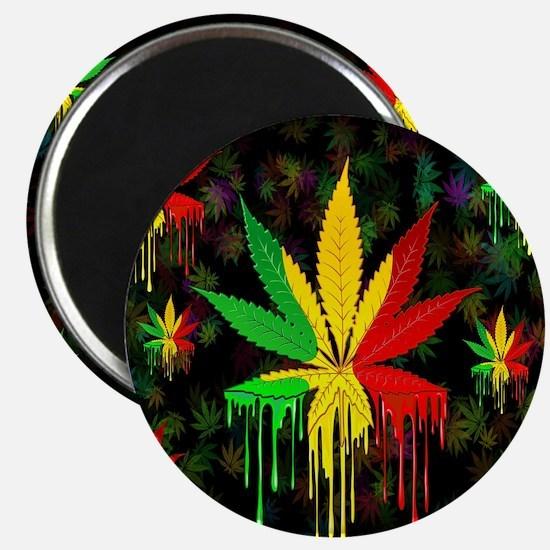 Marijuana Leaf Rasta Colors Dripping Paint Magnets