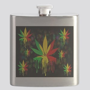 Marijuana Leaf Rasta Colors Dripping Paint Flask
