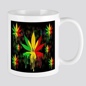 Marijuana Leaf Rasta Colors Dripping Paint Mugs