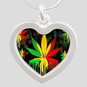 Marijuana Leaf Rasta Colors Dripping Paint Necklac