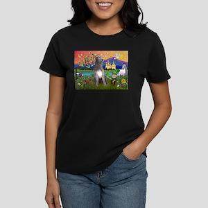 Irish Elf & Irish Wolfhound Women's Dark T-Shirt