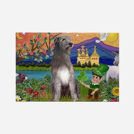 Irish Elf & Irish Wolfhound Rectangle Magnet