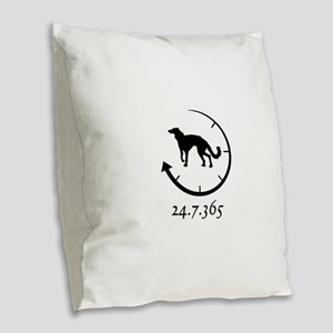 Silken Windhound Burlap Throw Pillow