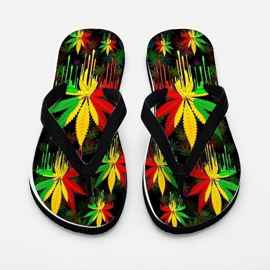 Marijuana Leaf Rasta Colors Dripping Paint Flip Fl