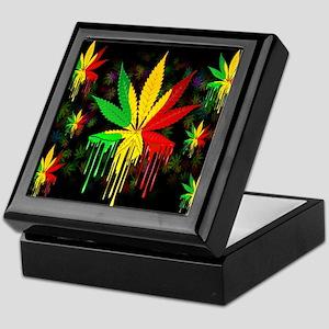 Marijuana Leaf Rasta Colors Dripping Paint Keepsak