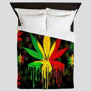 Marijuana Leaf Rasta Colors Dripping Paint Queen D