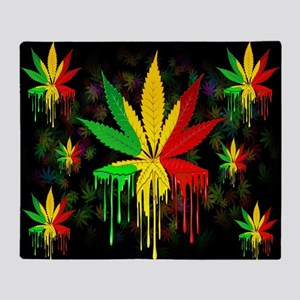 Marijuana Leaf Rasta Colors Dripping Paint Throw B