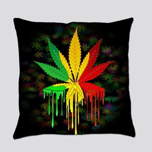 Marijuana Leaf Rasta Colors Dripping Paint Everyda