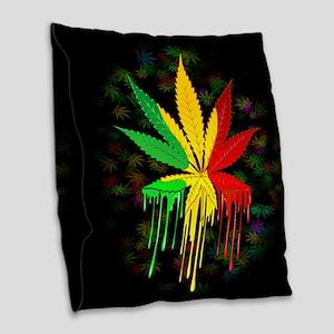 Marijuana Leaf Rasta Colors Dripping Paint Burlap