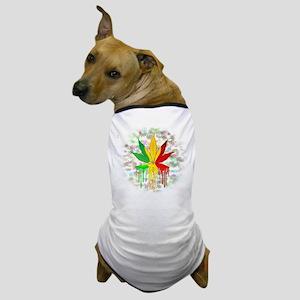 Marijuana Leaf Rasta Colors Dripping Paint Dog T-S