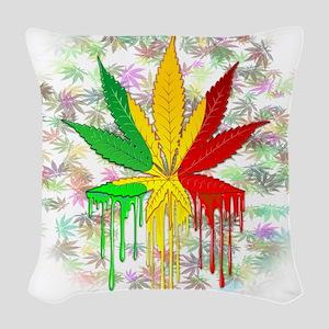 Marijuana Leaf Rasta Colors Dripping Paint Woven T