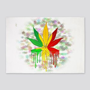 Marijuana Leaf Rasta Colors Dripping Paint 5'x7'Ar