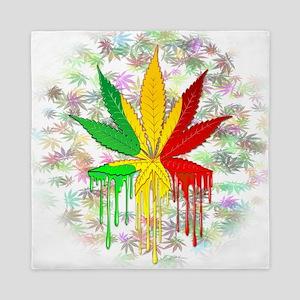 Marijuana Leaf Rasta Colors Dripping Paint Queen D