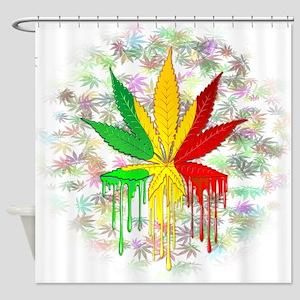 Marijuana Leaf Rasta Colors Dripping Paint Shower