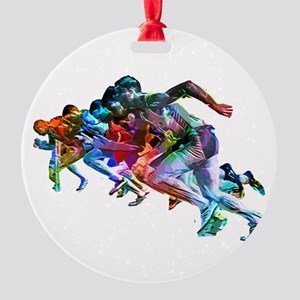 Super Crayon Colored Sprinters Round Ornament