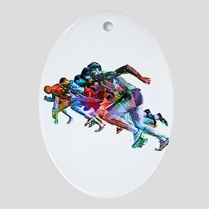 Super Crayon Colored Sprinters Oval Ornament