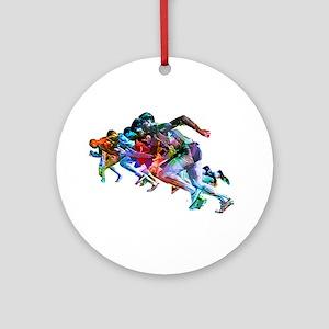 Super Crayon Colored Sprinters Round Ornament