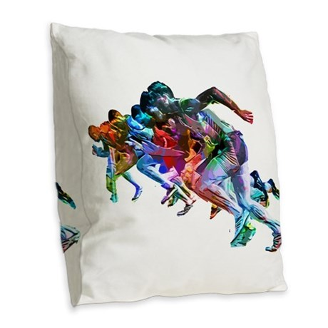 Super Crayon Colored Sprinters Burlap Throw Pillow