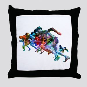 Super Crayon Colored Sprinters Throw Pillow