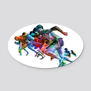 Super Crayon Colored Sprinters Oval Car Magnet