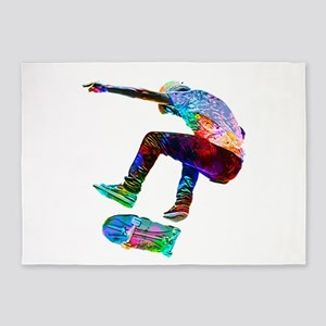 Super Crayon Colored Silhouette Ska 5'x7'Area Rug