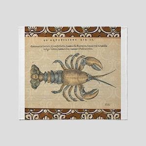 Vintage Lobster illustration Throw Blanket