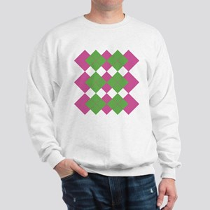 Pink and Green Argyle Sweatshirt