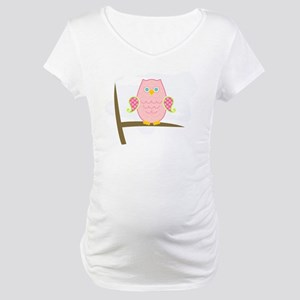 Owl (pink) Maternity T-Shirt