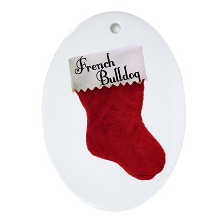 Frenchie Stocking Oval Ornament