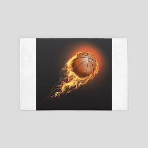 Flaming Basketball 4' x 6' Rug