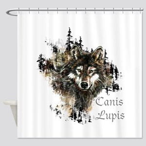 Canis Lupis Forest Wolf Head or Logo Shower Curtai
