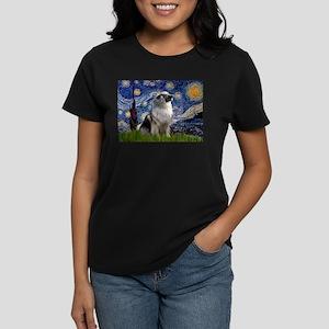 Starry Night & Keeshond Women's Dark T-Shirt