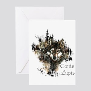 Canis Lupis Forest Wolf Head or Logo Greeting Card
