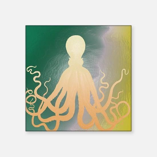 "Vintage Octopus Etching Square Sticker 3"" x 3"""