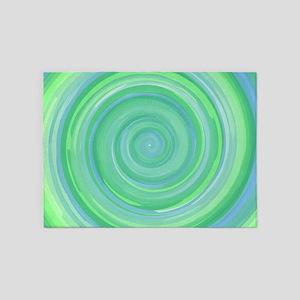 Blue Green Swirl 5'x7'Area Rug