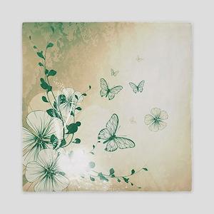 Butterfly and flowers Queen Duvet