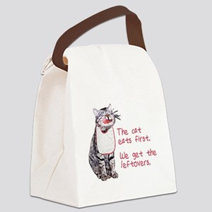 The cat eats first Canvas Lunch Bag