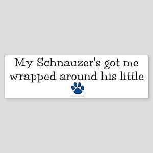 Wrapped Around His Paw (Schnauzer) Sticker (Bumper