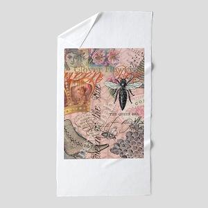 Vintage Queen Bee Collage Beach Towel