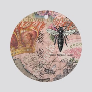 Vintage Queen Bee Collage Ornament (Round)